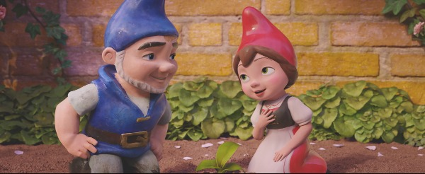 "JULIET (Emily Blunt) and GNOMEO (James McAvoy) in ""Sherlock Gnomes"" from Paramount Pictures and MGM."